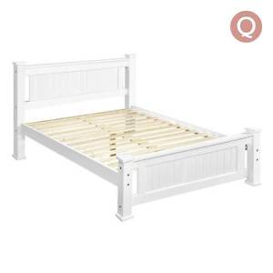 Wooden Bed Frame Pine Wood Queen White Sydney City Inner Sydney Preview