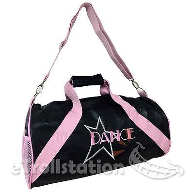 Gymnastics Girls Ballet Large Dance Swim Duffle Bag Black Vinyl Leather Pink NEW