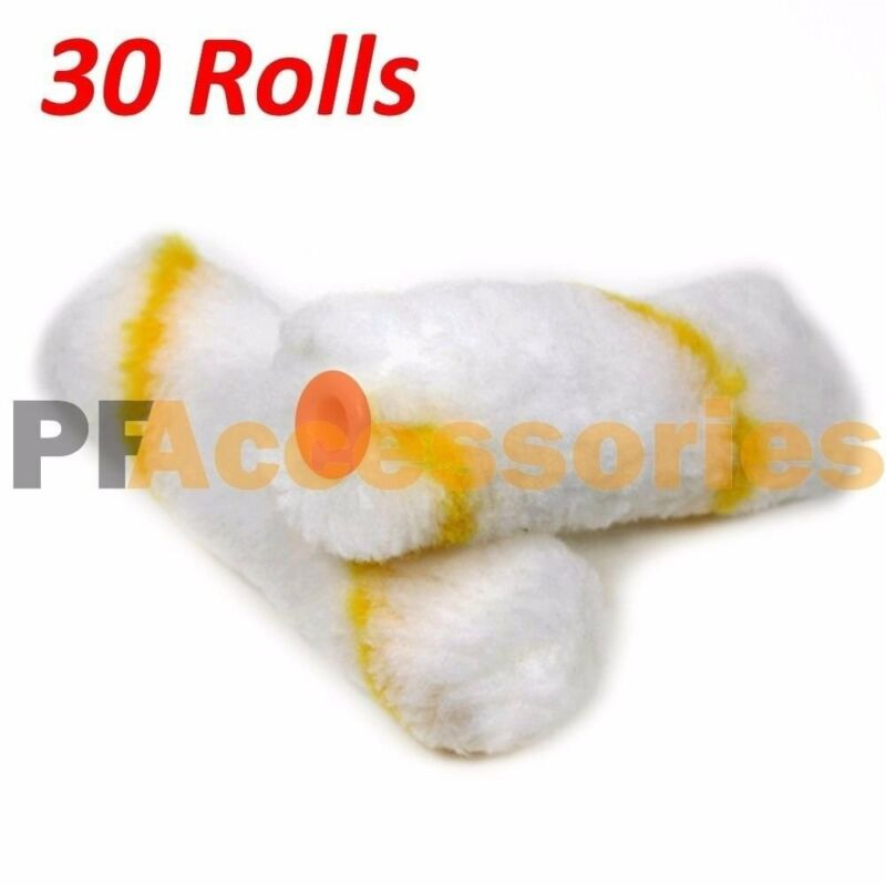 """30 Rolls 4"""" inch Mini Paint Roller Covers Refill Gold Stripe Soft Woven 1/2"""" Nap"""