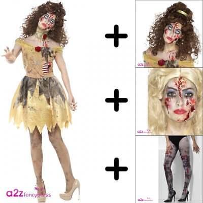Zombie Golden Fairytale Women Halloween Fancy Dress COSTUME + WIG TIGHTS MAKE-UP (Woman Halloween Makeup)