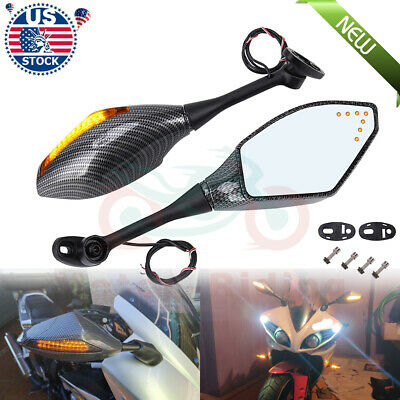 Carbon LED Turn Signal Lights Indicators Rear View Side Mirrors For Motorcycle