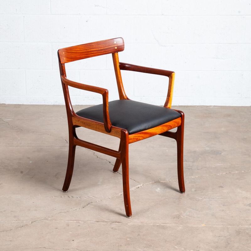 Mid Century Danish Modern Armchair Chair Ole Wanscher Mahogany Black Leather NM