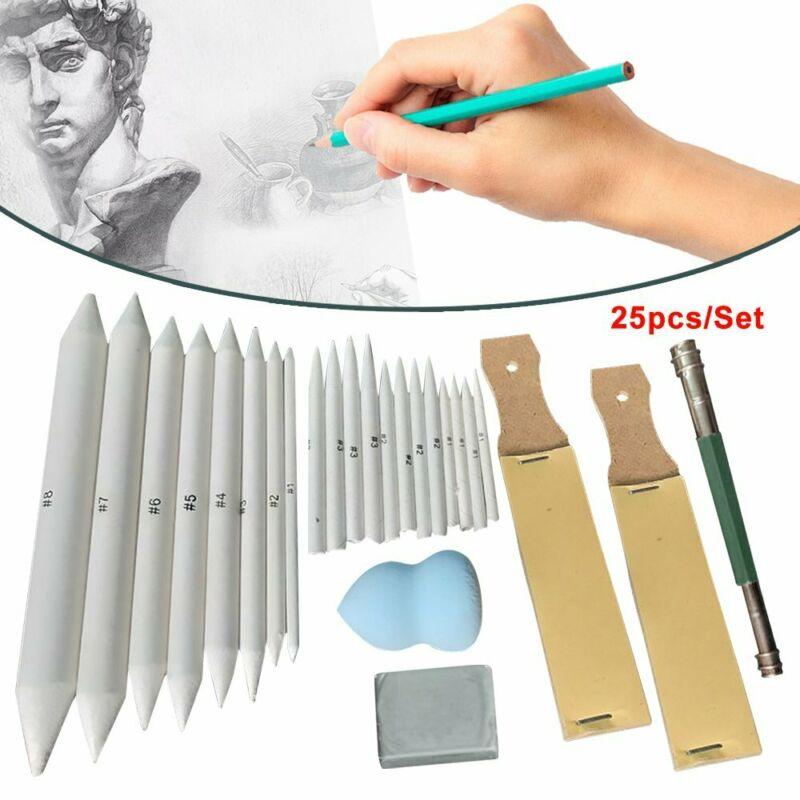 25pcs Blending Paper Stumps Art Drawing Stump Eraser Extender Sketch Tools LN