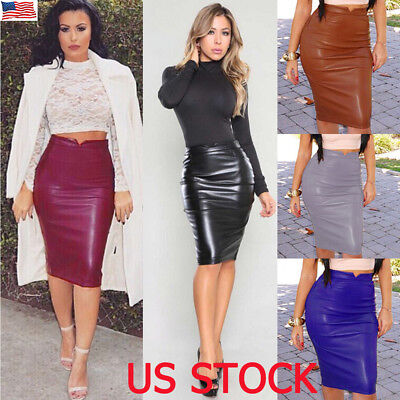 Leather Package - US Women's Ladies PU Leather Package Hip Slim Pencil High Waist Mini Short Skirt