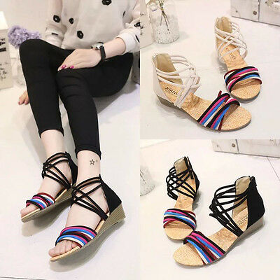 Women Summer Boho Slippers Flip Flops Flat Sandals Wedge Beach Thong Shoes  mt