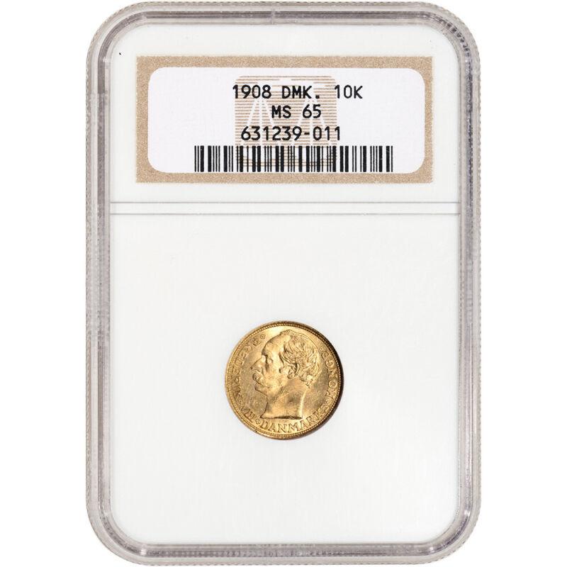 1908 Denmark Gold 10 Kroner - NGC MS65