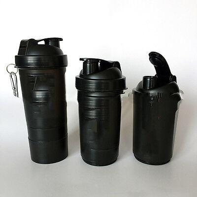 Protein Shaker Cup Sports Top Bottle Blender Mixer Ball Gym Fitness 500ml NPZ