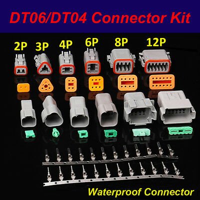 Dt06dt04 Kit 2pin3p4p6p8p12pin Waterproof Electrical Connector Socket Plug