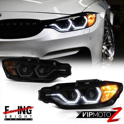 """F32 M3 Style"" 12-15 BMW F30 320i 328i 335i Smoke OLED Tube Projector Headlight"