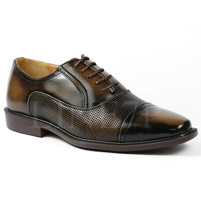 Brown Cap Toe - Men's Brown Cap Toe Lace Up Classic Oxford Dress Shoes Antonio Cerrelli 6528