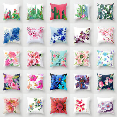 - Polyester Floral pillow case cover sofa car throw waist cushion cover Home Decor