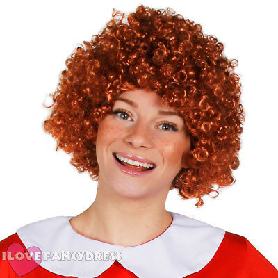 AUBURN AFRO WIG SHORT CURLY ORANGE GINGER HAIR MUSICAL FILM FANCY DRESS - Ginger Afro Wig