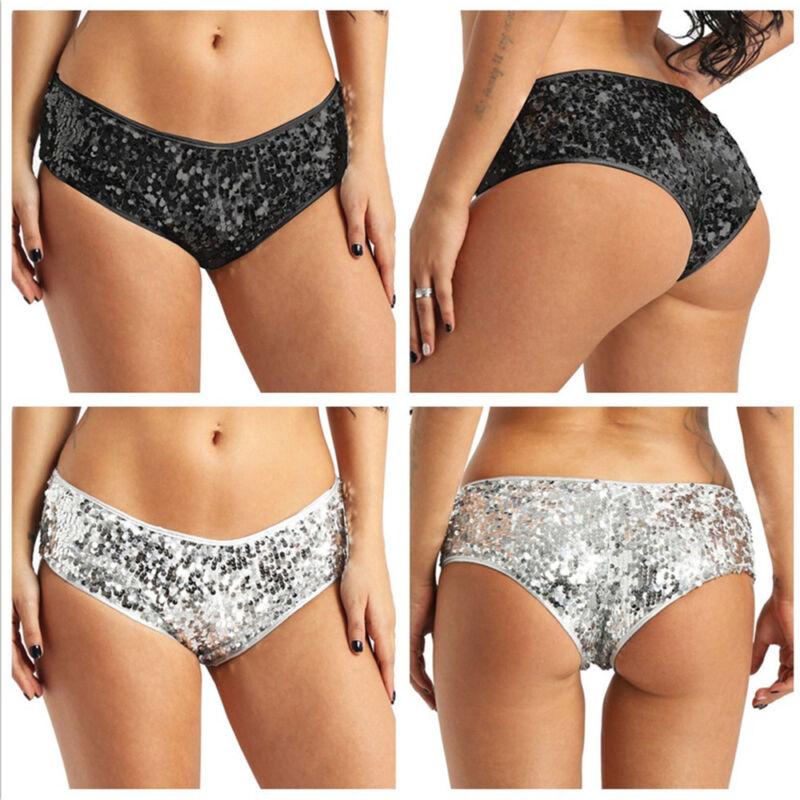 Ladies Stretch Low Rise Thongs Triangle Knickers Panties Wet Look PU Underwear