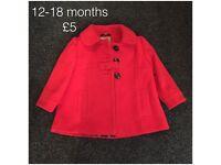 Red coat, ex Next, 12-18 months