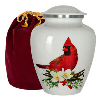 Peace and Harmony Beautiful Red Cardinal Adult Large Urn for Human Ashes