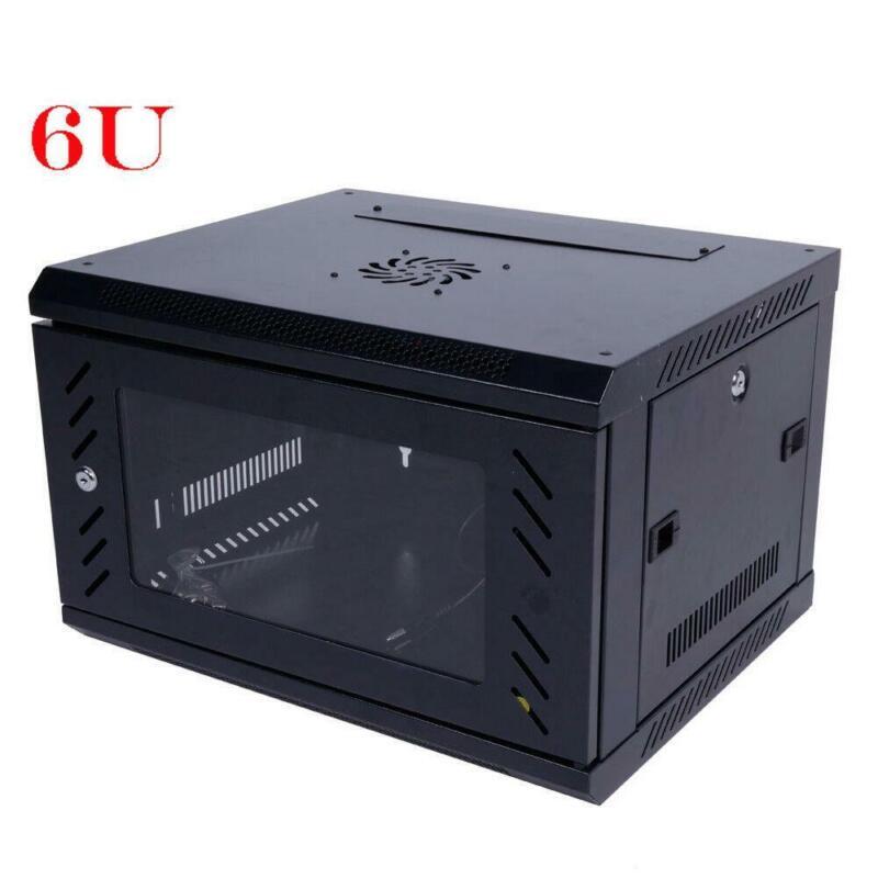 6U Wall Mount Network Server Data Cabinet Enclosure Rack Door Lock Cooling Fan