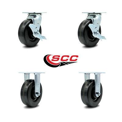 Scc 6 X 2 Phenolic Wheel Caster Set Of 4 - 2 Swivel Wbrakes2 Rigid