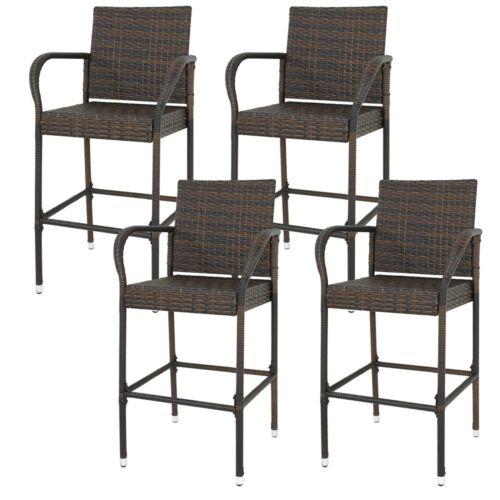 Set of 4 Indooor Outdoor Backyard Patio Wicker Barstool Patio Bar Stools Brown Benches, Stools & Bar Stools