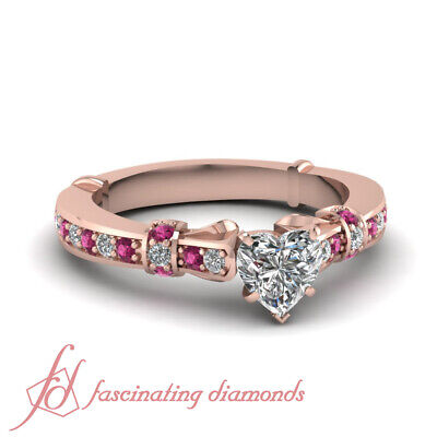 .80 Ct Heart Shaped Diamond And Sapphire Pave Engagement Ring In Rose Gold GIA