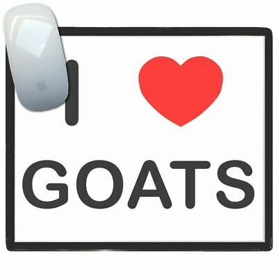 I Love Heart Goats - Thin Pictoral Plastic Mouse Pad Mat Badgebeast