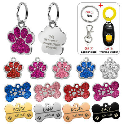 Personalized Dog Tags Engraved Cat Puppy Pet ID Name Collar Tag Bone/Paw Glitter - Engravable Dog Tags