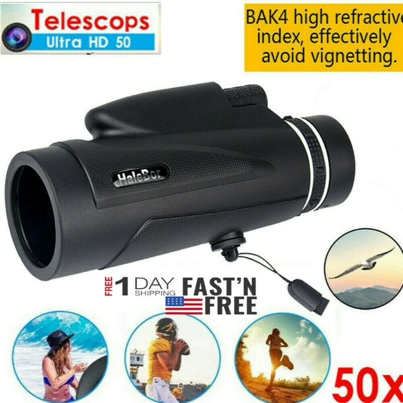 50x60 Monocular Outdoor Optics Zoom Lens Camping Hiking BAK4