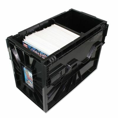 Black Plastic Short Comic Book Bin BCW Locking Storage Box Heavy Duty Holds - Plastic Book Boxes