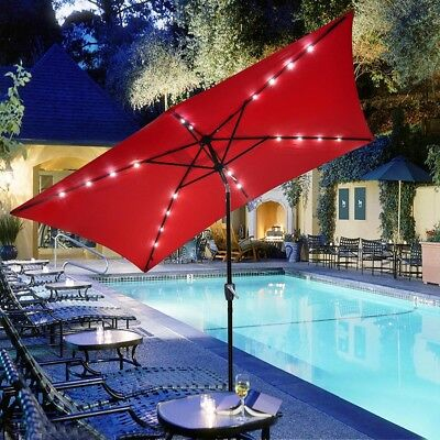 10'x6.5' Patio Outdoor Aluminum Umbrella Solar LED Light Crank Tilt Red Cover ()