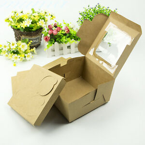 25PCS Cupcake Muffin Boxes 4 cups With Clear Window Insert Kraft Brown Paper