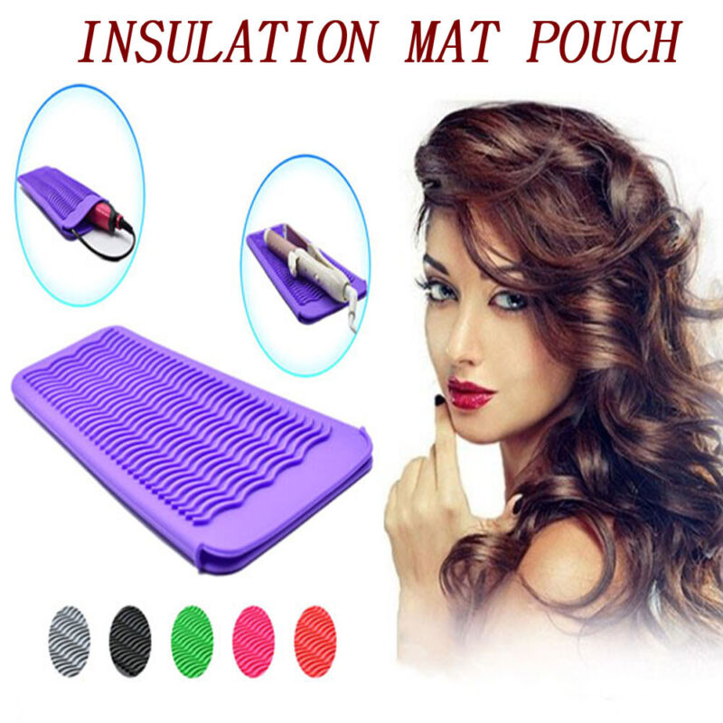 Silicone Heat Resistant Mat Pouch Curling Iron Hair Straight