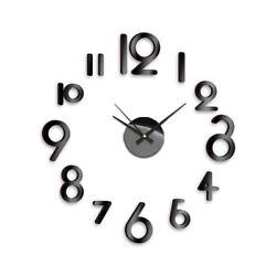 NEW! DIY SELF ADHESIVE WALL CLOCK DO IT YOURSELF 3D INTERIOR TIME CLOCK - BLACK