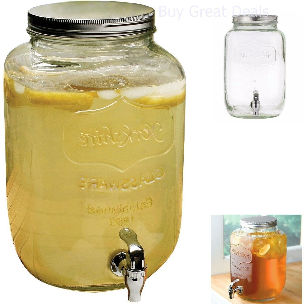 Glass Jar Dispenser Drink Mason Jars Beverage Cocktails Ice Tea Lemonade Pod New Ebay