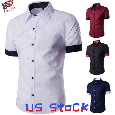 Fashion Men Summer T-Shirts Casual Dress Short Sleeve Tops Plaids Arm Stripe US