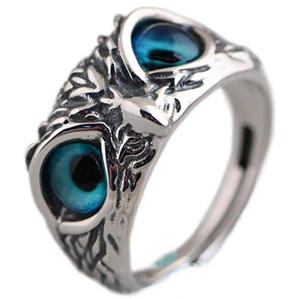 925 Sterling Silver Demon Owl Eye Ring For Girl Women Lover Retro Animal Ring US