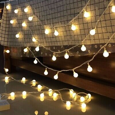 LED Solar Battery Powered Garden Party Fairy String Crystal Ball Lights Outdoor