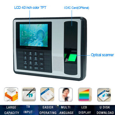 Employee Fingerprint Recorder Attendance Clock Time Card Machine 4 Inch Tft W1g6