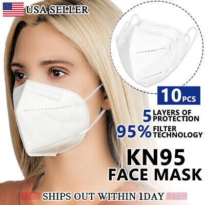 [10 Pcs] Kn95 Protective Respirator 5 Layer Face Mask Disposable [bfe 95% Pm2.5]