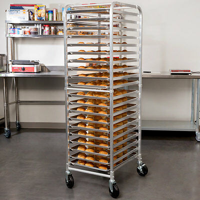 20 Pan Aluminum End Load Restaurant Bakery Bun Sheet Pan Open Speed Rack