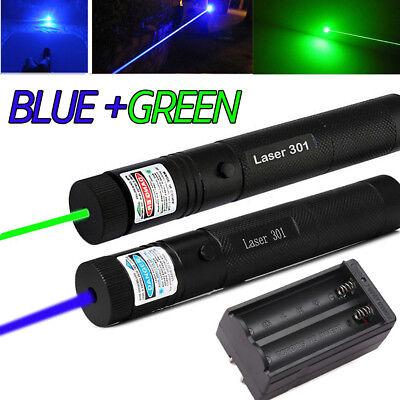 Military 10miles Bluegreen Laser Pointer Pen Visible Beam Light Lazercharger