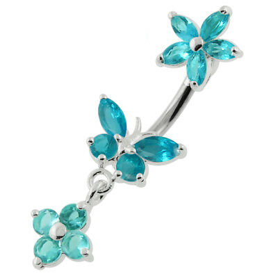 925 Sterling Silver Jeweled Flowers With Butterfly Spinal Belly Button Ring  925 Sterling Silver Belly Ring