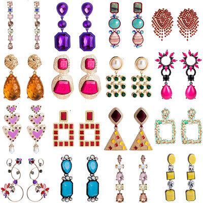 Womens Geometric Crystal Earrings Ear Stud Tassel Dangle Drop Statement Jewelry