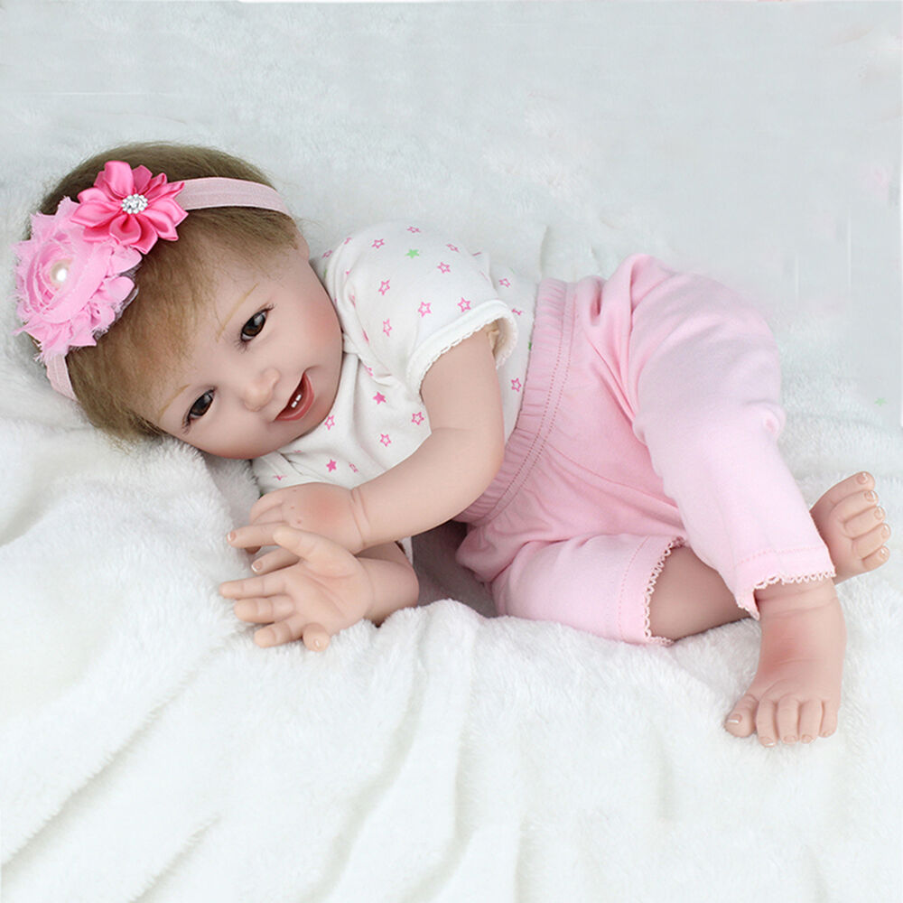 22'' CUTE Smile Handmade Reborn Baby Doll Girl Soft
