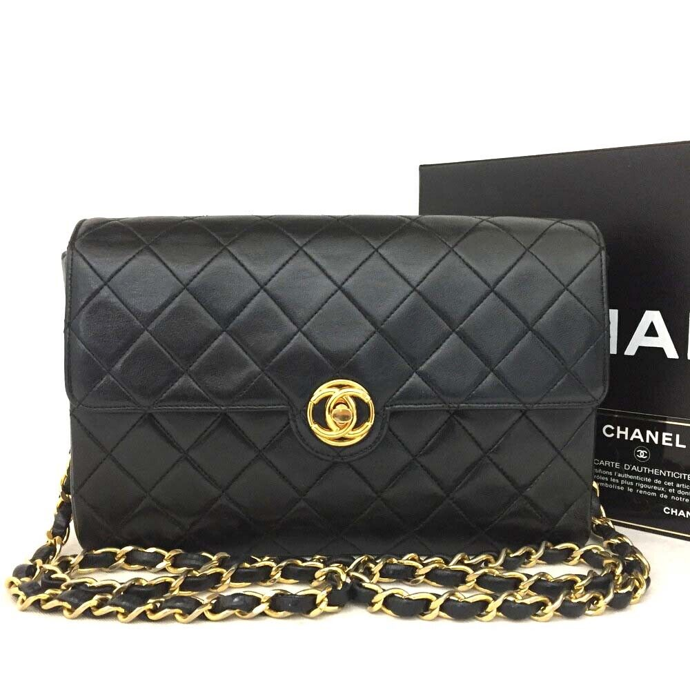 Vintage CHANEL Quilted Matelasse CC Logo Lambskin Chain Shoulder Bag / oII x