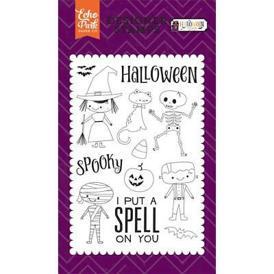 Halloween Costumes CLEAR Unmounted Rubber Stamps Set Echo Park HT133043 New