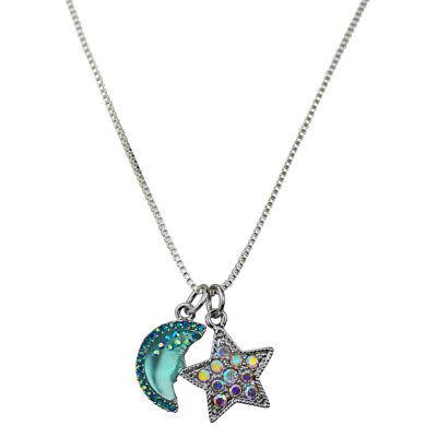 Kirks Folly Moon Shadow Goddess & Star Shimmer Charm Slide Necklace silvertone Goddess Star Necklace