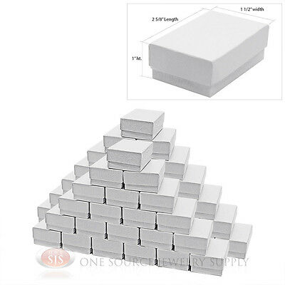 50 White Swirl Cardboard Cotton Filled Jewelry Gift Boxes 2 58 X 1 12 X 1