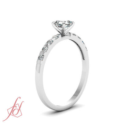 1.15 Ct White Gold Diamond Ring For Her With Asscher Cut And Round Accents GIA 2