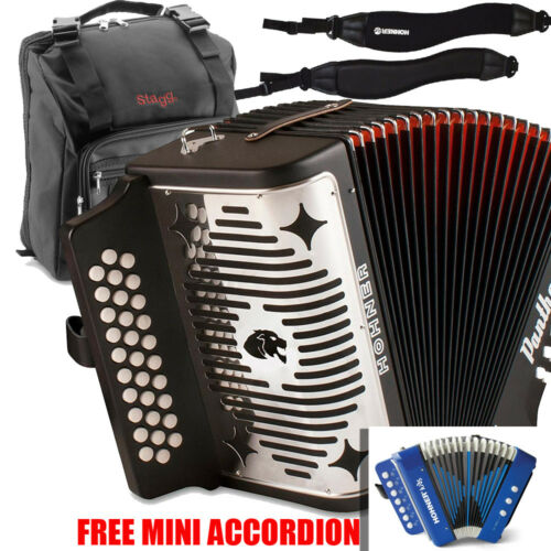 Hohner Panther FBE Fa 31 Button Accordion with Bag, Strap & Blue Mini Accordion