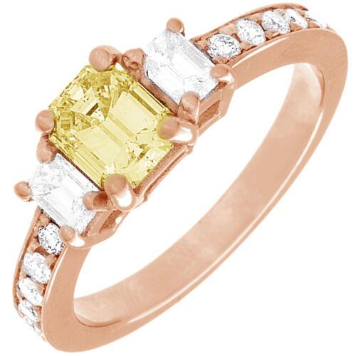 Diamond Engagement Ring GIA Certified Fancy Yellow Emerald Cut 18k Gold 2.31 CT 6