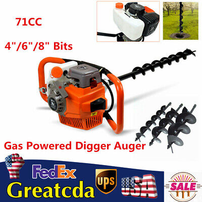 Pro 71cc Gas Powered Post Hole Digger Auger Borer Fence Drill 468 Bits